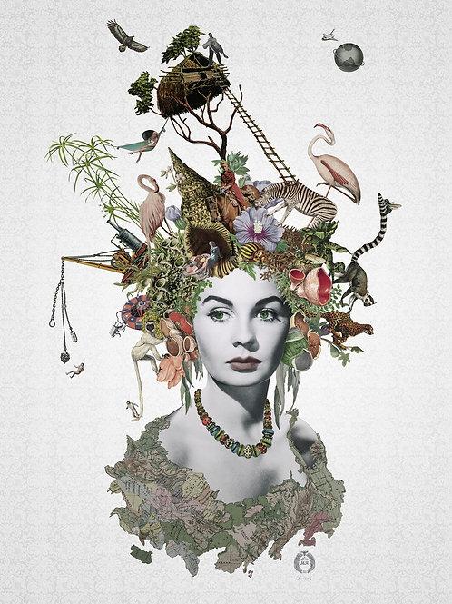 Jean Simmons Portrait  collage print - Maria Rivans artwork at Deep West Gallery