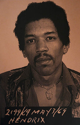 Jimi Hendrix portrait silk print , urban art by David Studwell at Deep West Gallery