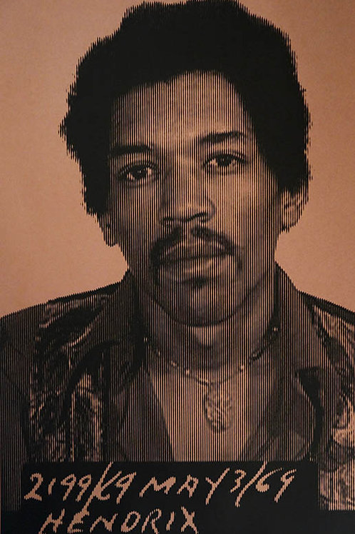 Jimi Hendrix portrait silk print , urban art by David Studwell at Deep West Gallery