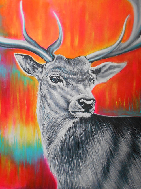 Stag head painting, Acrylic and oil on canvas, Street art, by Annette Jansen at Deep West Gallery