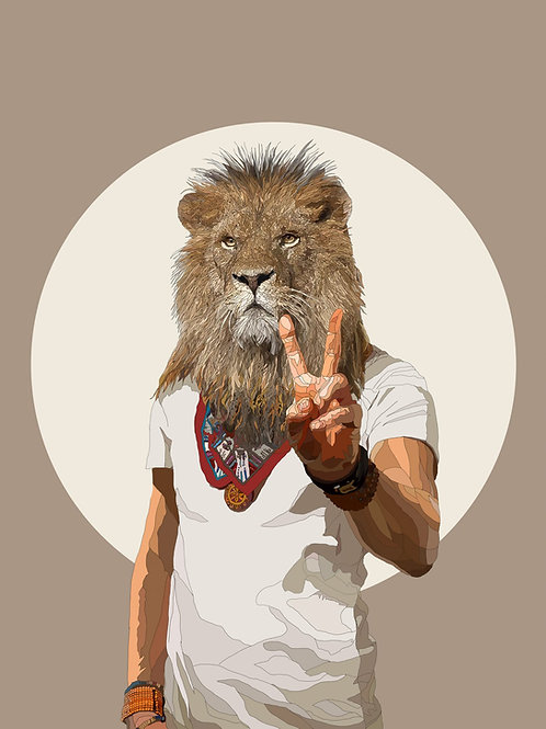 Lion Peace and Love and All That Jazz print with acrylic sheet from Paul Kingsley Squire Urban art artwork at Deep West Galle