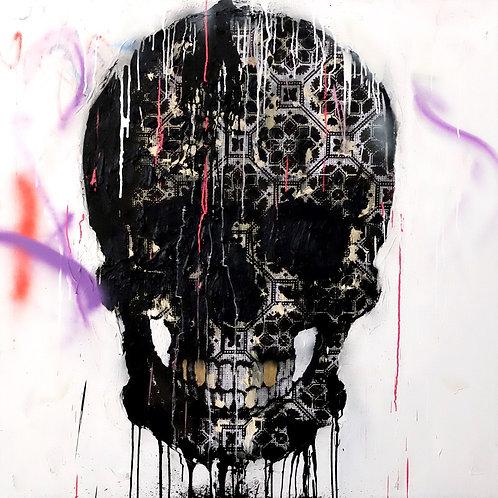 skull pull it  spray painting from Zsolt Gyarmati Street (Graffiti ) original artwork at Deep West Gallery