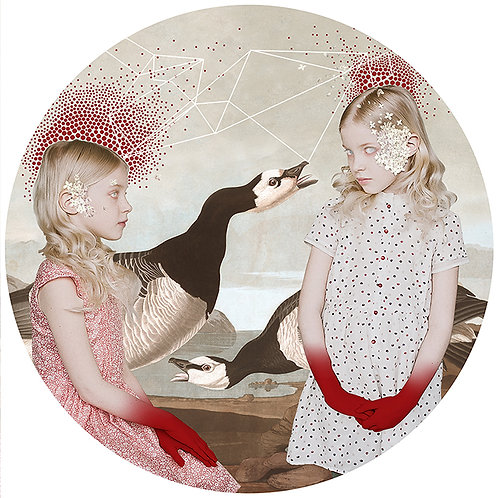Two girls portraits with birds and lakes, Street art, Urban art from Alexandra Gallagher at Deep West Gallery