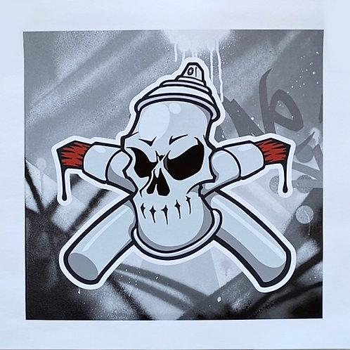 skull print by graffiti artist  machOne at Deep West Gallery