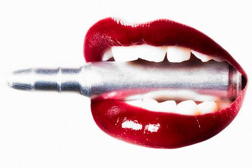 Red bullet lips- Erik Brede' s abstract artwork ( digital artworks )at Deep West Gallery