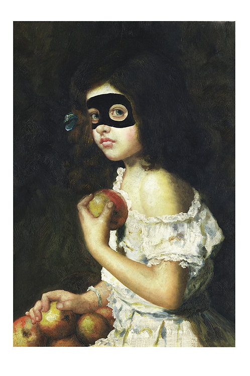 Girl with Apple with eye mask portrait, Giclee print from Shuby, Urban and Street  art artwork at Deep West Gallery