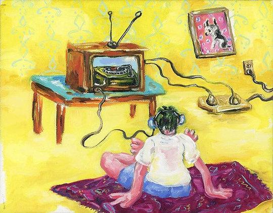 Analog Listener oil  painting from Joe Carrozzo urban art artwork at Deep West Gallery
