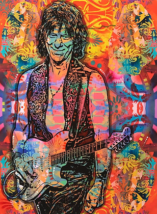 Jeff Beck Portrait, Giclee print, Street art by Dean Russo at Deep West Gallery