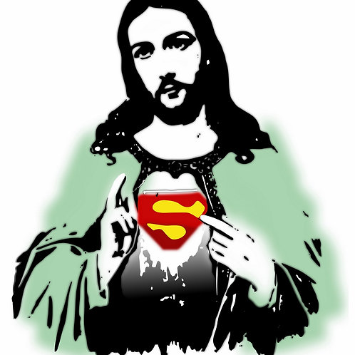 Jesus christ superman Giclee print from Tony Leone, Digital and Pop art artwork at Deep West Gallery