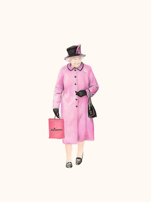 Queen Elizabeth portrait in Pink, Giclee print from Zoe Moss, digital and Pop art artwork at Deep West Gallery