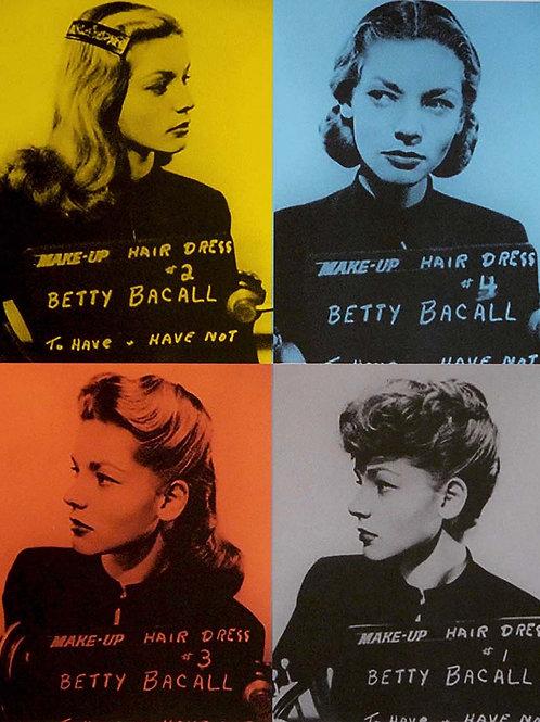 Lauren Bacall portrait silk print, urban art by David Studwell at Deep West Gallery