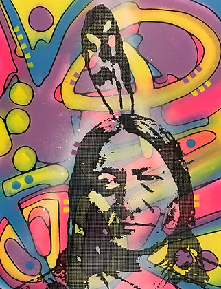 Sitting Bull spray painting, Street art by Dean Russo at Deep West Gallery
