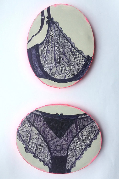 Two set of mimi Lingerie ovals original painting on canvas from Anne-Marie Ellis Contemporary art artwork at Deep West Galle