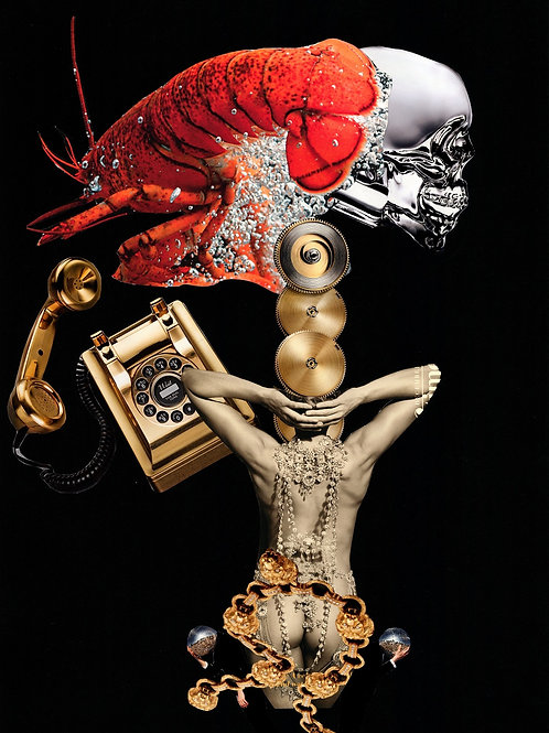 Girl, lobster, telephone, skull print, urban and collage artwork by Lidwine Titli at Deep West Gallery