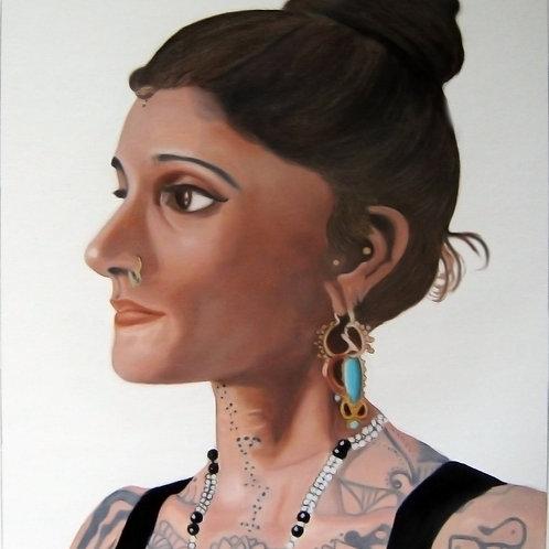 India tattoo artist Saira Hunjan portrait, urban art from Alfonso Ragone at Deep West Gallery