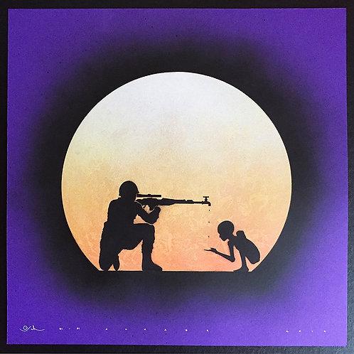 Gun man in purple, shooting , spray painting from Otto Schade Street (Graffiti ) artwork at Deep West Gallery