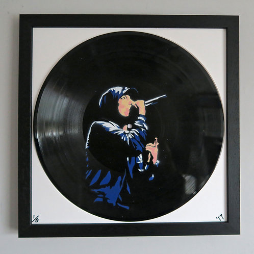 Eminem, Spray Painting and Stencil on Vinyl Record, Street art, by Anna Jaxe at Deep West Gallery