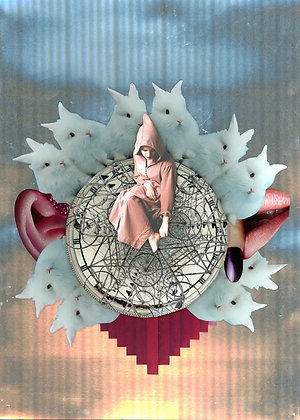 Rabbit Hole, print, urban and collage artwork by Lidwine Titli at Deep West Gallery