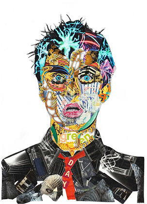 Billie Joe Armstrong's portrait from Glil Collage artwork at Deep West Gallery