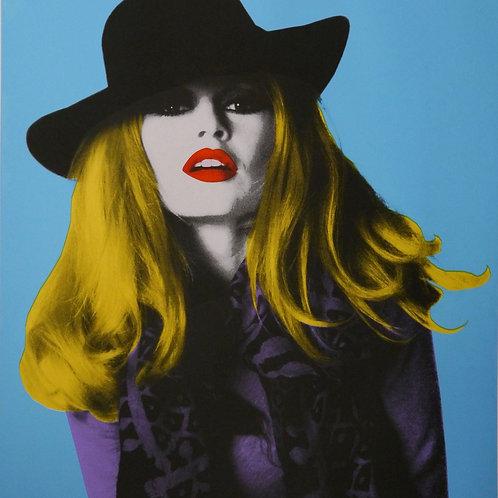 Brigitte Bardot portrait silk print, urban art by David Studwell at Deep West Gallery