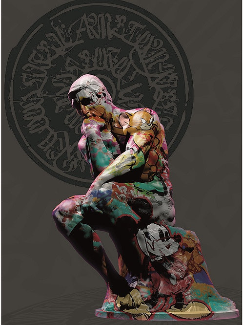 The statues of Thinker giclee print, digital art & Pop art by David Williamson at Deep West Gallery
