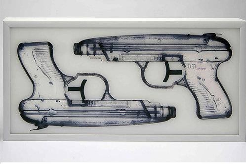 Water Gun in white, black and blue  - Dominic Vonbern' s street artwork ( digital artworks )at Deep West Gallery