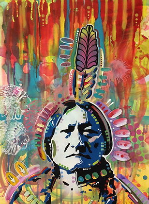 Sitting Bull Portrait Spray painting, Street art by Dean Russo at Deep West Gallery