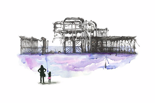 Brighton Pier (water color ) print from Richard Berner, Urban  art artwork at Deep West Gallery