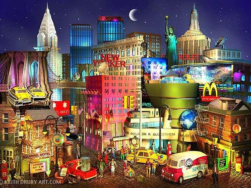 New York Night landscape print, New York city - Urban artworks at Deep West Gallery