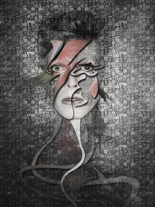 David Bowie portrait from Erik Brede' s abstract artwork ( digital David Bowie portraits print at Deep West Gallery