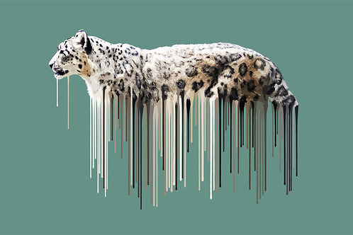 Snow Leopard - Sage , Giclee print, Pop art, Urban art,  by Carl Moore at Deep West Gallery