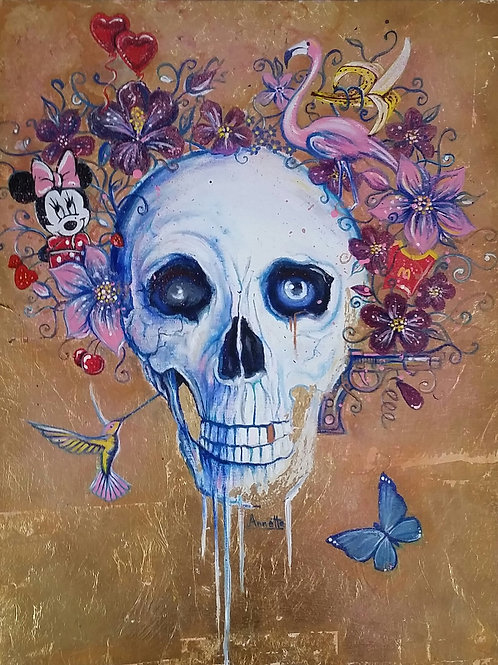 Skull with flowers painting, Acrylic and oil on canvas, Street art, by Annette Jansen at Deep West Gallery