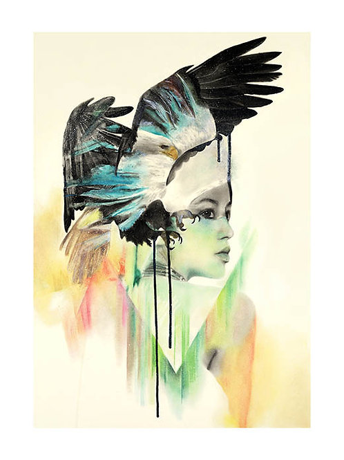 Birds and beauty portrait , print, urban artwork by Kerry Beall at Deep West Gallery