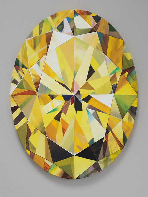 Yellow diamond original painting on canvas from Anne-Marie Ellis Contemporary art artwork at Deep West Galle