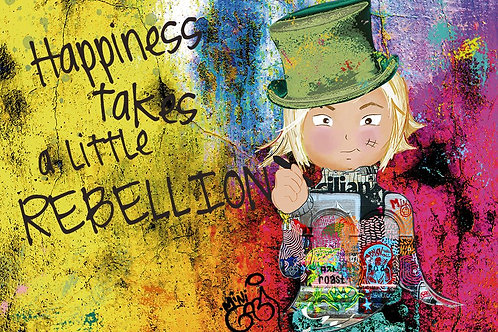 Happiness Girl Portrait ,  giclee print - Mini Gabi Urban artwork ,at Deep West Gallery