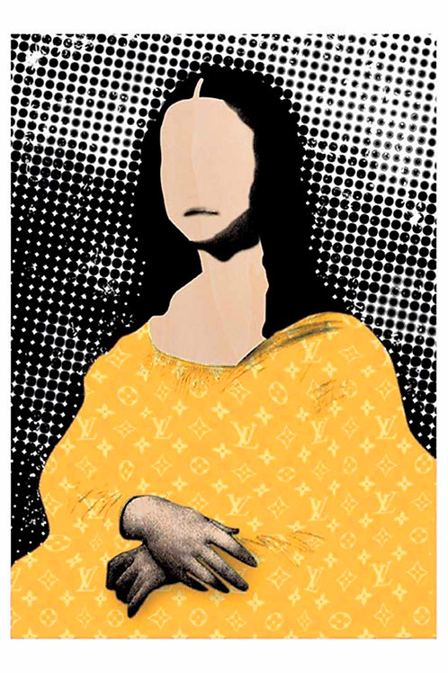 Mona lisa portrait in Yellow, LV brand, Digital art, urban artwork by Andrea Visconti at Deep West Gallery