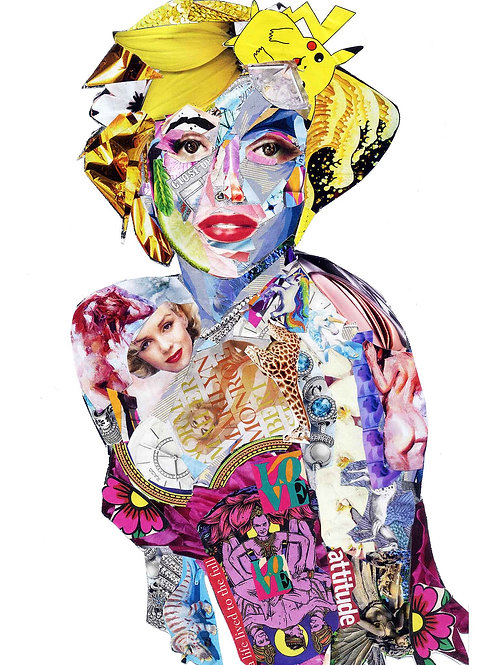 Marilyn Monroe's portrait from Glil Collage artwork at Deep West Gallery