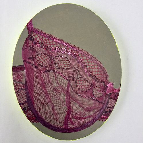 French lace bra lingerie ovals original painting on canvas from Anne-Marie Ellis Contemporary art artwork at Deep West Galle