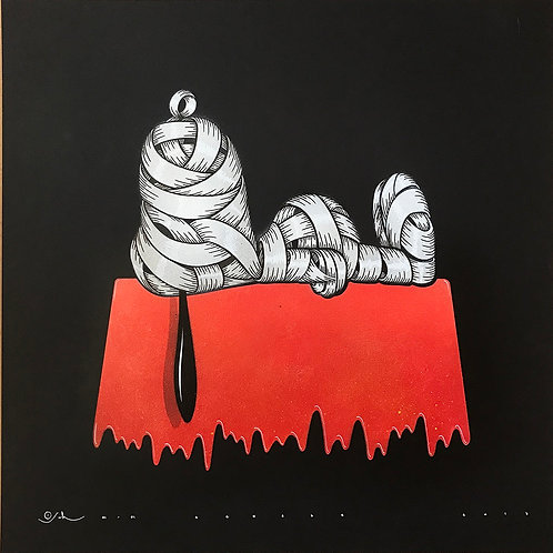Snoopy in white, ribbons , spray painting from Otto Schade Street (Graffiti ) artwork at Deep West Gallery