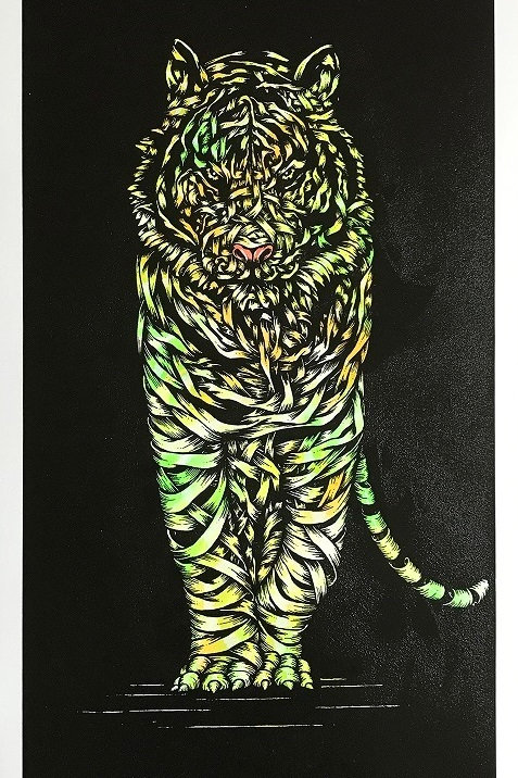 White tiger in green, ribbons ,screen print from Otto Schade Street (Graffiti ) artwork at Deep West Gallery
