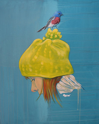 Girl with hat and bird,  Urban art  , original painting - Mark Hooley artwork at Deep West Gallery