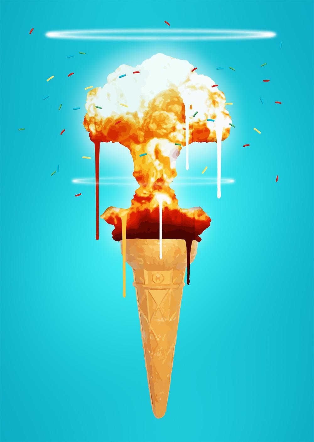 ice cream, meltdown, explosion