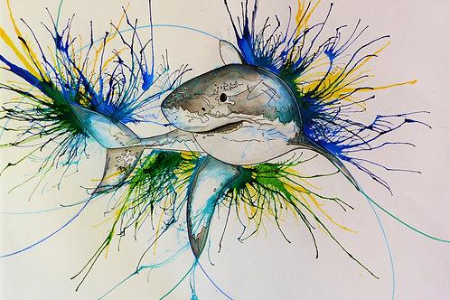White Shark original painting from British urban artist Emily Donald at Deep West Gallery