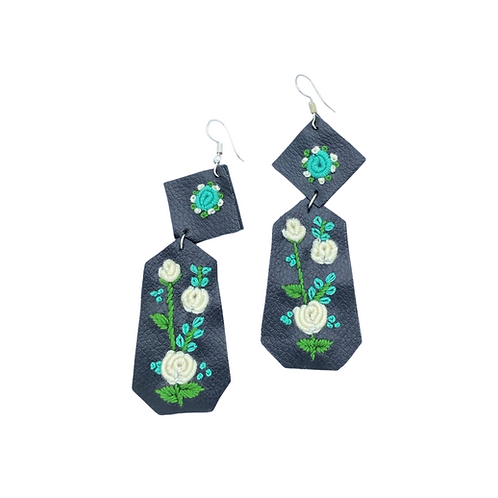 A Rose for Emily Embroidered Earrings