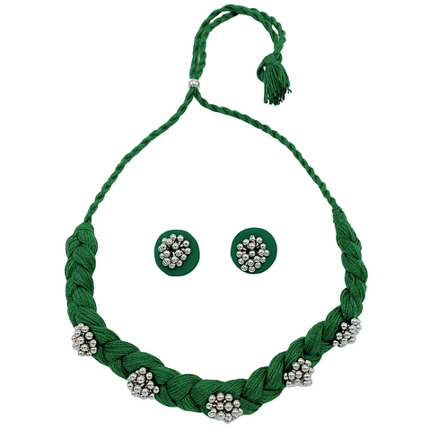 Emerald Choker Necklace and Earrings Set