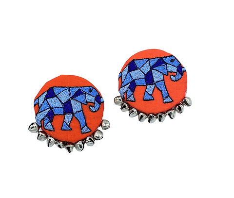 Blue Elephant Embroidered Earrings