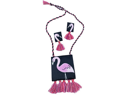 Flamingo Necklace and Earrings Set