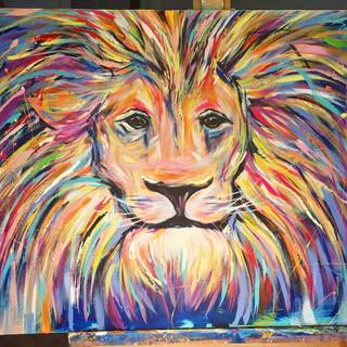 "Rainbow Lion 24""x36"""