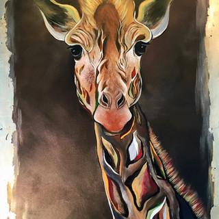 """Gold Leaves Giraffe 24""""x36"""""""