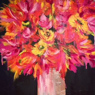 "Burning Flowers 24""x24"""